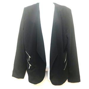 Premise Studio Women's Blk Zipper Accent Blazer-12